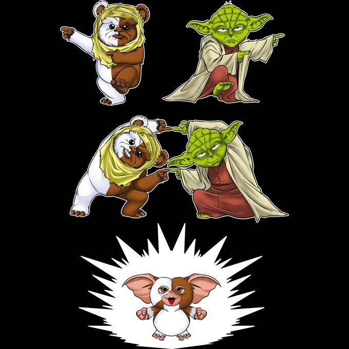 fusion yaha t-shirts homme star wars gremlins