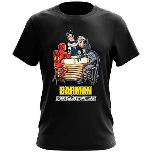 T-shirt homme Barman, le super Héros du quotidien ! – Parodie Batman, Iron Man, Justice League, Mcu